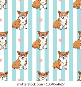 Seamless pattern with cute sitting pembroke welsh corgi wearing pink heart glasses on light blue and white striped background. Endless texture with funny cartoon dogs for your design