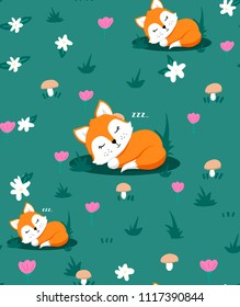 Seamless pattern with cute sleeping fox and flowers, mushrooms, herb. Vector illustration