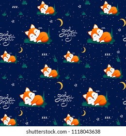 Seamless pattern with cute sleeping fox and moons, stars. Vector illustration