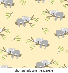 Seamless pattern with cute sleeping koala bears. Vector background