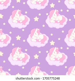 Seamless pattern with cute sleeping unicorn on the cloud. Vector illustration