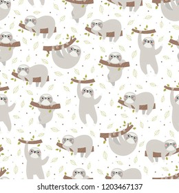 Seamless pattern with cute sloth.