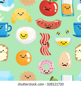 Seamless pattern with cute smiling breakfast food. Vector illustration.