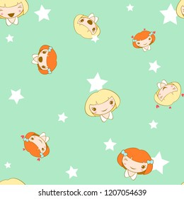 Seamless pattern with cute smiling girl. Vector.