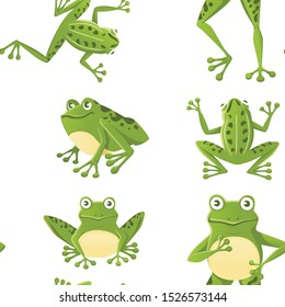 Seamless pattern of cute smiling green frog sitting on ground cartoon animal design flat vector illustration on white background
