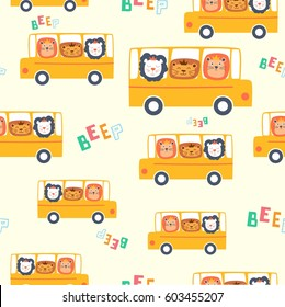 seamless pattern of Cute Smiling Lions in school bus, King of the jungle. Tee print, shirt, embroidery, mug, bag, lunchbox, wallpaper, wrapper, poster, banner flat design for kids. vector illustration