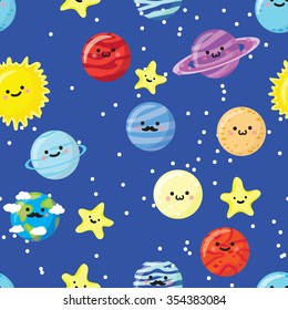 Seamless pattern with cute smiling plants, sun, stars and moon. Vector illustration