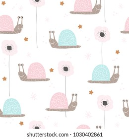 Seamless pattern with cute snail and flowers. Vector hand drawn illustration.