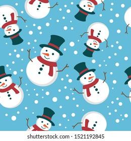 Motif harmonieux de bonhomme de neige mignon, adapté à l'enveloppement, fond d'écran, papier décoratif, illustration vectorielle