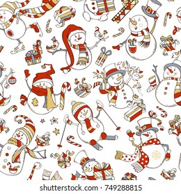 Seamless pattern of cute snowmen. Vector cartoon snowmen on white background. Snowman is singing. Snowman is skating. Snowman is skiing. Candy canes, gift boxes, Christmas baubles, birds, stars.