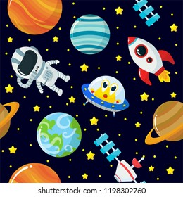 Seamless Pattern of Cute Space Elements with Cartoon Style