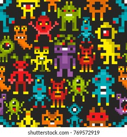 Seamless pattern with cute space monsters in pixel style. Retro vector background.