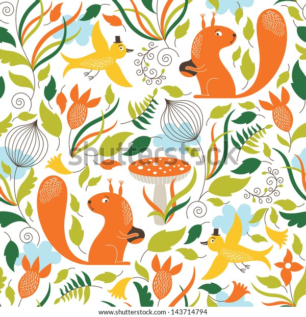 Seamless pattern with a cute squirrels