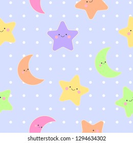 Seamless Pattern of cute star and moon on dot background, Vector Illustration