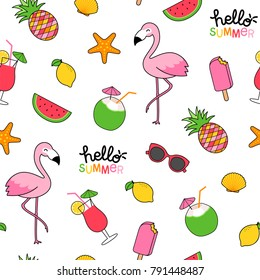 Seamless pattern of cute summer elements illustration on white background