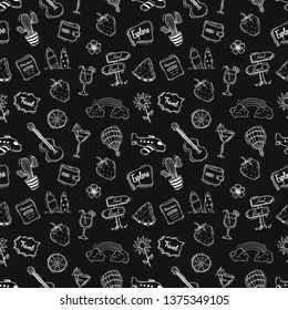 Seamless pattern of cute summer illustration with hand drawn style on black background