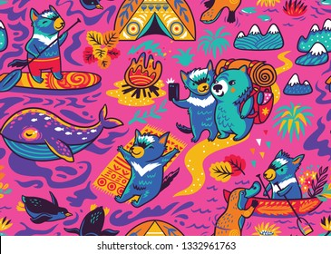 Seamless pattern with cute Tasmanian devil and other australian animals in cartoon style. Vector illustration
