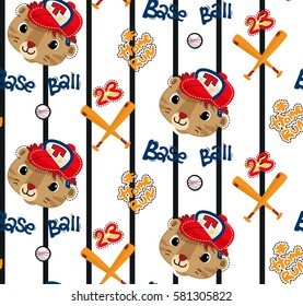 Seamless pattern, Cute tiger face cartoon wearing baseball cap on vertical lined background illustration vector.