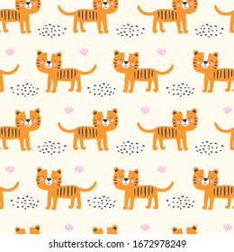 Seamless pattern with cute tiger. Kids vector illustrations