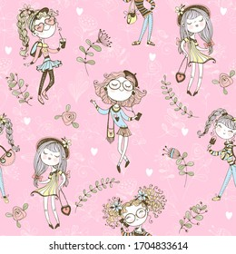 Seamless pattern with cute trendy teen girls on pink background . Vector.