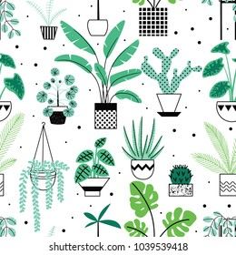 Seamless pattern with cute tropical house plants in bright geometric style