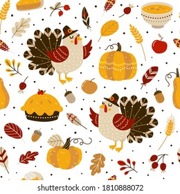 Seamless pattern with cute turkey and autumn elements for Thanksgiving day design