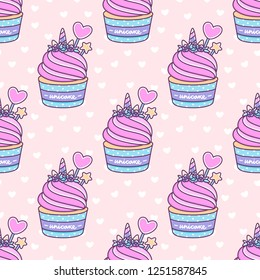 Seamless pattern with cute unicorn cupcake on a pink background with white heart. Unicake it's funny wordplay Unicorn and Cake. It can be used for packaging, wrapping paper, textile and etc.