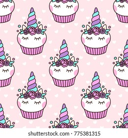 Seamless pattern with cute unicorn cupcake on a pink background with white heart. It can be used for packaging, wrapping paper, textile and etc.