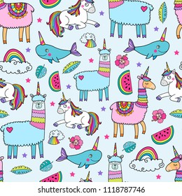 Seamless pattern with cute unicorn llamas. Lovely vector illustration, background design, good for textile, wrapping paper, packaging for children and adults.