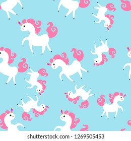 seamless pattern with cute unicorn vector illustration on blue background. Colorful vector illustration for fabric print, wallpaper, greeting card, wrapping paper.