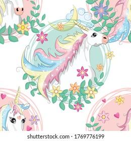 seamless pattern with cute unicorns, heart, rainbow and stars. Magic background with little unicorns.