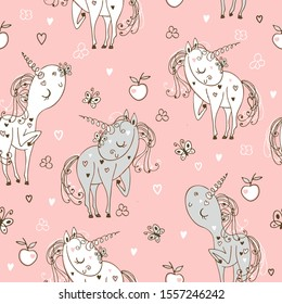 Seamless pattern with cute unicorns.  Vector.