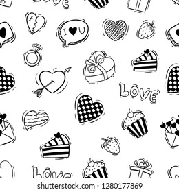 seamless pattern of cute valentine icons with doodle style