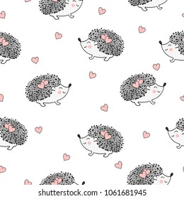 Seamless pattern with cute watercolor hedgehogs and hearts. Vector background.