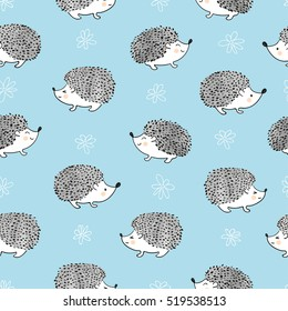 Seamless pattern with cute watercolor hedgehogs. Vector background.