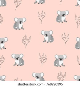 Seamless pattern with cute watercolor koala bears on pink. Vector background