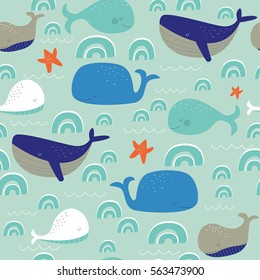 Seamless pattern with cute whales in cartoon style