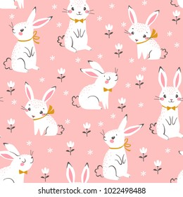 Seamless pattern of cute white bunnies on pink background with floral elements.
