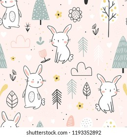 Seamless pattern with cute white bunnies in the forest on a light pink background. Vector background for children.