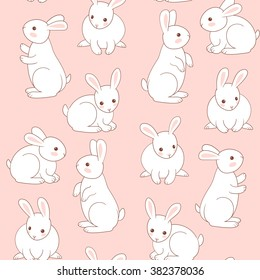 Seamless pattern with cute white little rabbits.