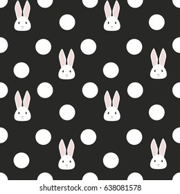 Seamless pattern: Cute white rabbit and polka dots on a black background. Vector illustration