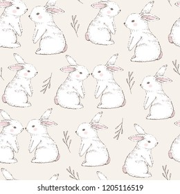 Seamless pattern with cute white rabbits. Hand Drawn vector illustration.