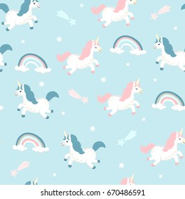 Seamless pattern with cute white unicorns, rainbow, falling stars. Magic background with baby unicorns flying in the blue sky. Adorable wallpaper in the childish style. Vector
