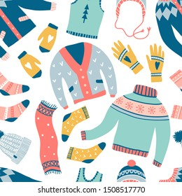 Seamless pattern with cute winter clothes: sweaters, socks, hats, scarf. Hand draw texture with colorful doodle ornament accessories. New Year and winter holiday symbols. Cozy lifestyle background