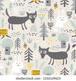 Seamless pattern with cute wolf and white bunny in the forest . Vector background for children. Scandinavian style.