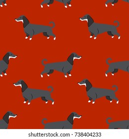 seamless pattern with dachshund. 2018 dog symbol
