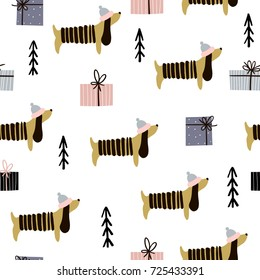 Seamless pattern with dachshunds and gift boxes. Creative christmas background. Vector Illustration