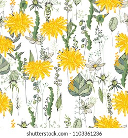 Seamless pattern with daffodils and herbs. Endless texture for your design