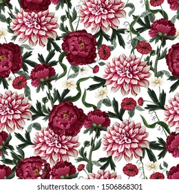 Seamless pattern with dahlia, peonies and wild flowers. Vector.