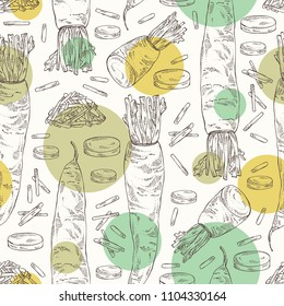 Seamless pattern with daikon: root and a piece of daikon. Chinese radish. Vector hand drawn illustration.